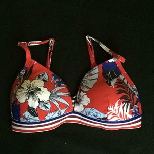 No Bo Hawaiian Print Triangle Bikini Top Size 3-5